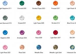 Die 20 verfügbaren Standardfarben der CRYSTALS from SWAROVSKI